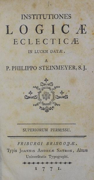 Philipp Steinmeyer 'Institutiones Logicae Eclecticae', Titelblatt