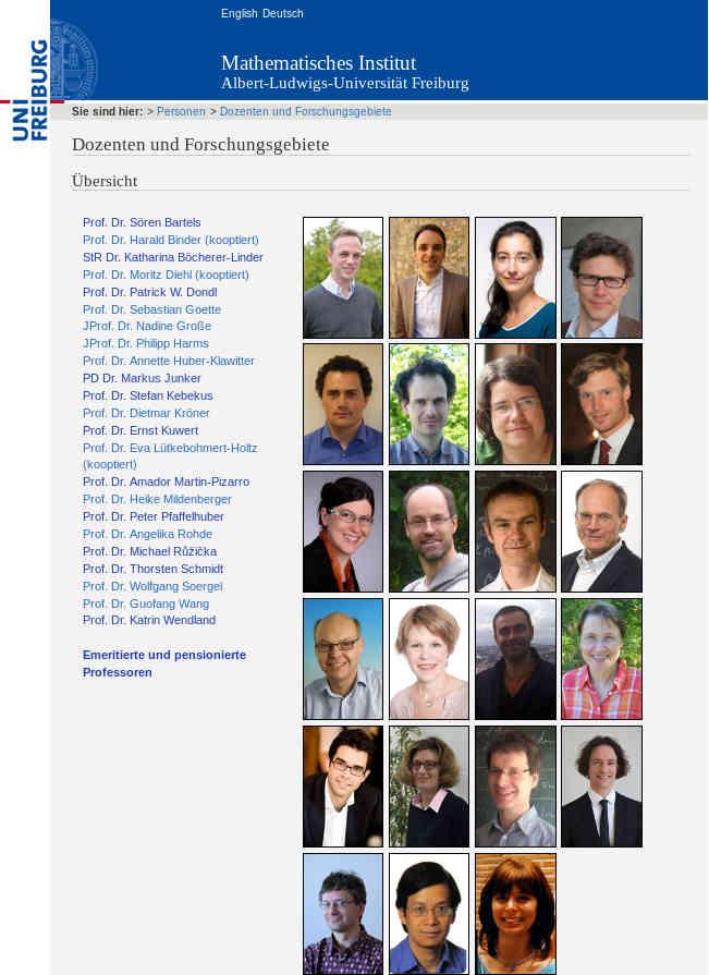 Dozenten und ihre Forschungsgebiete